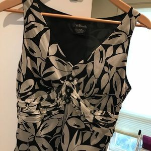 Beautiful Black and White Silk Top
